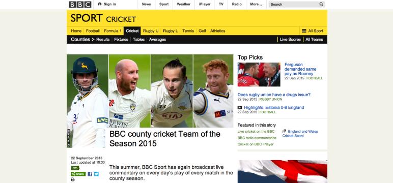 BBC Sport: BBC county cricket Team of the Season 2015