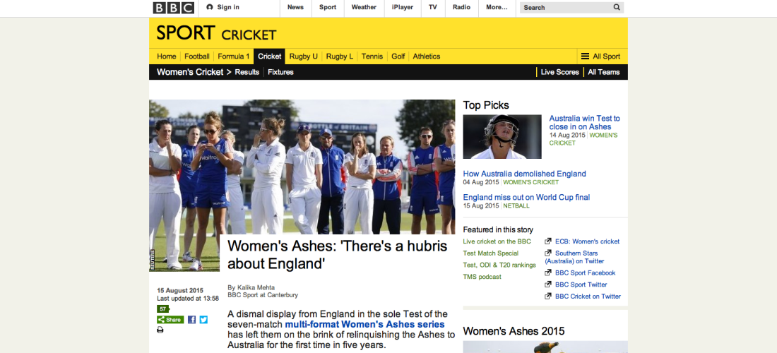 Bbc Sport Women S Ashes There S A Hubris About England Isabelle Westbury