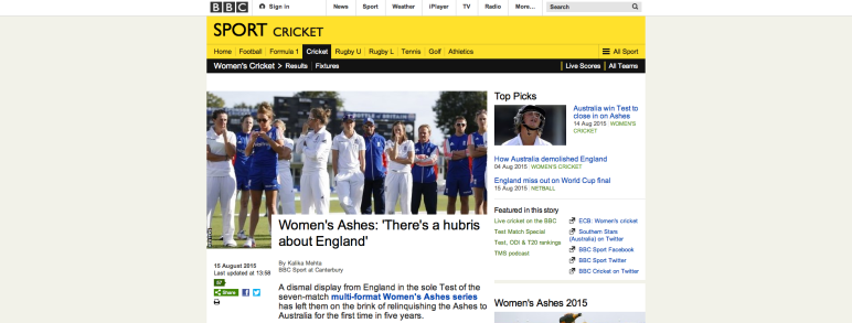 BBC Sport: Women's Ashes – 'There's a hubris about England